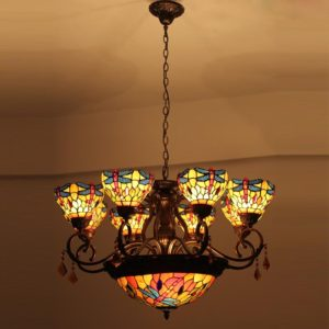 Stained Glass Tiffany Rose Flower Chandelier
