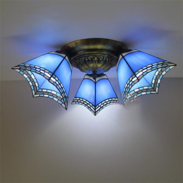 Cool Blue Stained Glass Tiffany Ceiling Lights