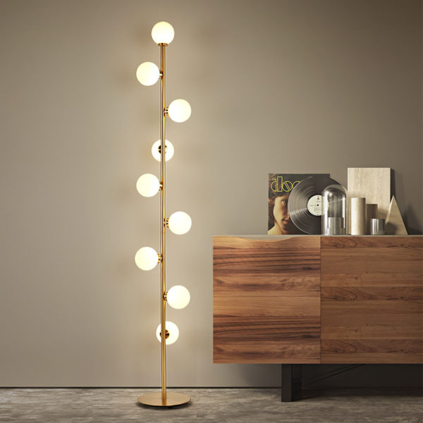Postmodern Frosted Glass Standing Floor Lamp (9 Bulbs)