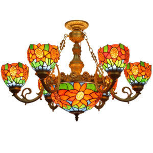 Handcrafted Sunflower Stained Glass Shade Tiffany Chandelier