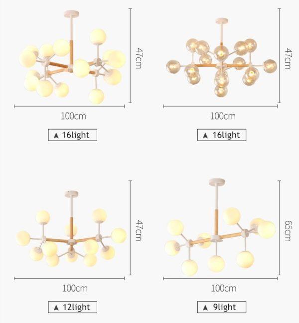 Modern Wood Frame LED Chandelier (9-16 heads)