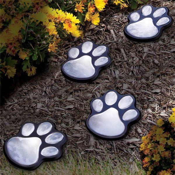 Decorative Paw Print Solar Outdoor Lawn Lights