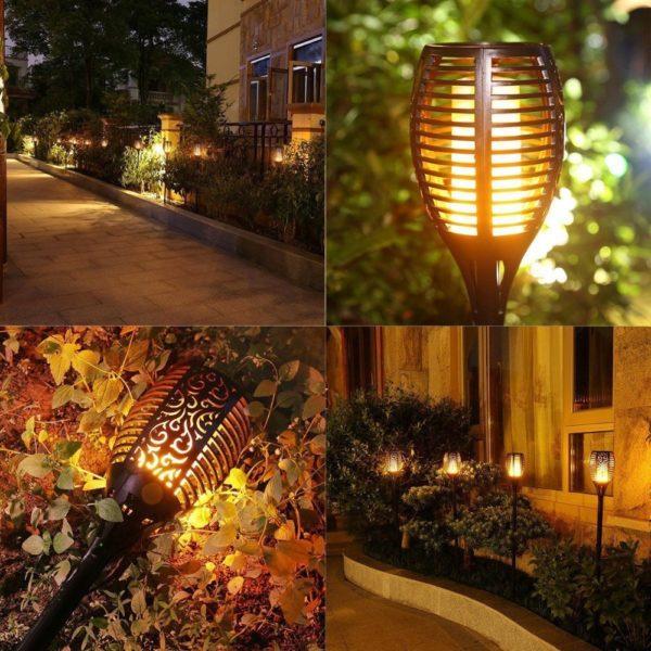 Dancing Flames Waterproof Outdoor LED Solar Torch Light