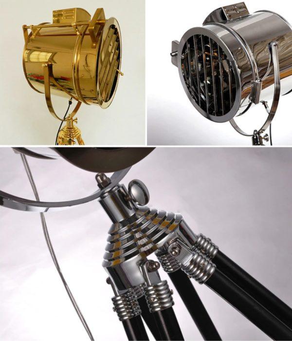 Retro Creative Studio Tripod Floor Lamp Light Silver and Golden