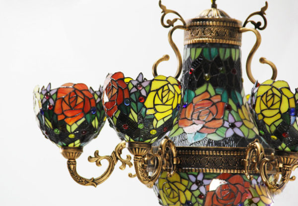Vintage Stained Glass Tiffany Rose Flower Chandelier