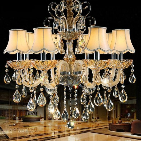 Luxury K9 Crystal Chandelier with Lampshades