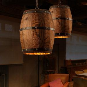 Vintage Wooden Barrel Pendant Light