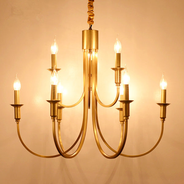 Country Copper Candle Chandelier