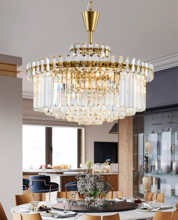 Postmodern Golden Crystal Chandelier