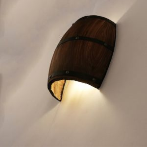 Wooden Barrel Wall Lamp