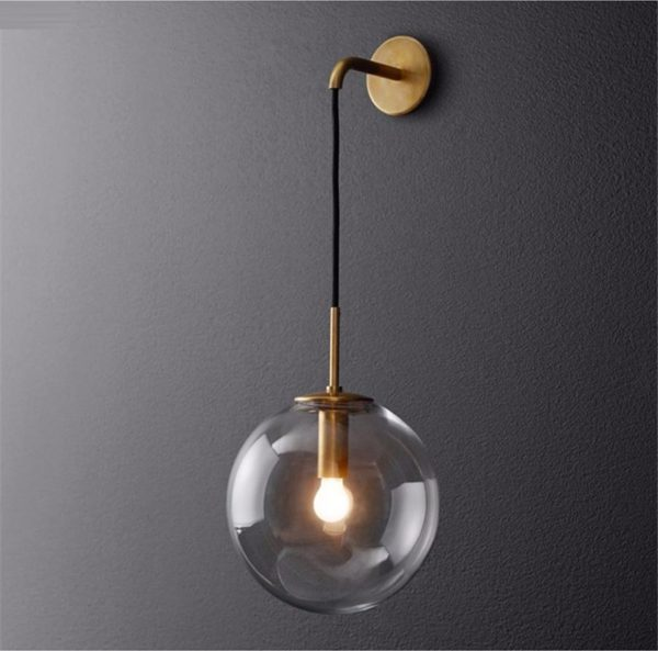 Nordic Orb Clear Glass Wall Lamp golden