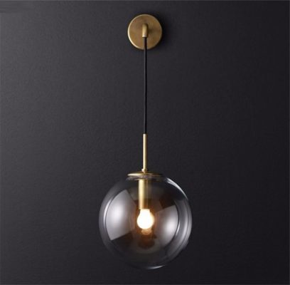 Nordic Orb Clear Glass Wall Lamp gold 2