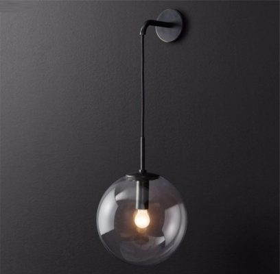 Nordic Orb Clear Glass Wall Lamp black 1