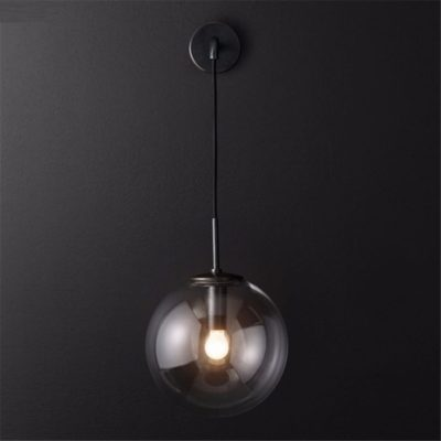 Nordic Orb Clear Glass Wall Lamp black 2