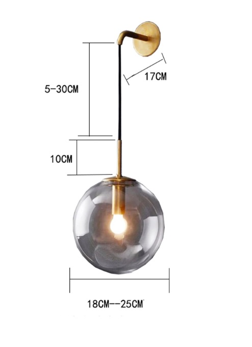 Nordic Orb Clear Glass Wall Lamp size guide
